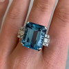 12CT Emerald Cut Greenish Blue Hue Sterling Silver Ring
