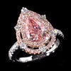 Double Halo 3.8 CT Fancy Light Pink Pear Shape Sterling Silver Ring