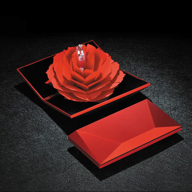 Magical Red Ring Box with Pop-Up Red Rose