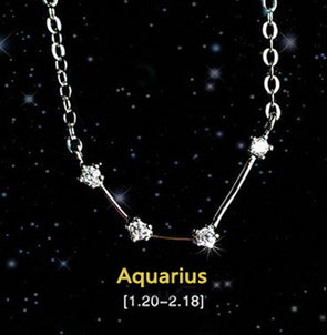 Aquarius - Creative 12 Constellation CZ Astrology Horoscope Sign Necklace