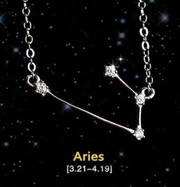 Aries - Creative 12 Constellation CZ Astrology Horoscope Sign Necklace