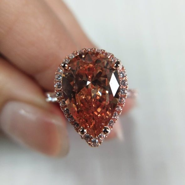 Pear Cut Champagne Lab-created Sapphire Halo Rose Gold Engagement Ring