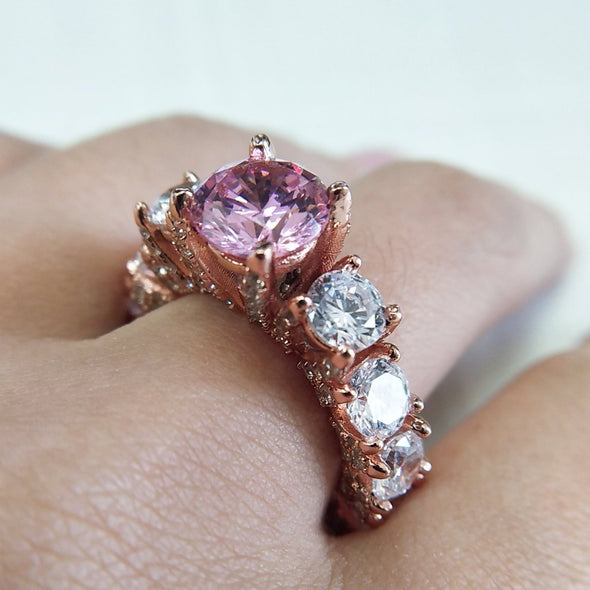 Round Cut Pink Lab-Created Sapphire Rose Gold Engagement Ring in 925 Sterling Silver
