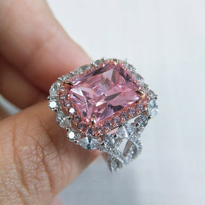 Radiant Cut Fancy Pink Lab-Created Sapphire Halo Engagement Ring in Sterling Silver