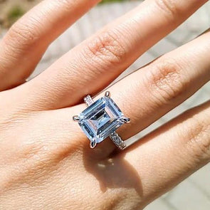 Classic Emerald Cut Lab-created Sapphire Engagement Ring in 925 Sterling Silver