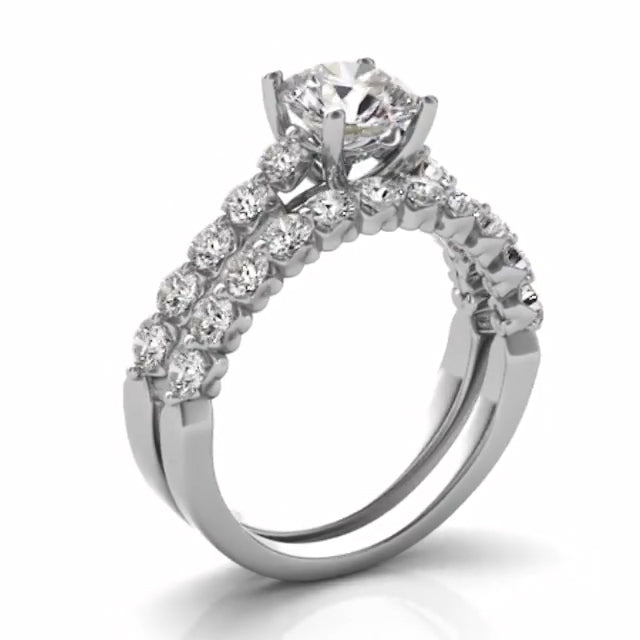 Cnvpk 3.9 Ct Round Cut Stunning 925 Silver Bridal Ring Sets