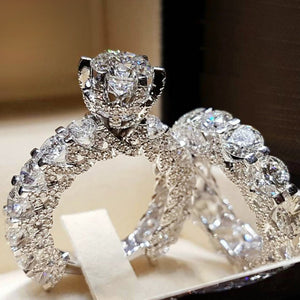Cnvpk 5.74Ct Round Cut 925 Silver Bridal Ring Set