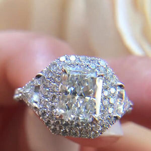Cnvpk 2.2 Ct Double Halo Princess Cut 925 Silver Engagement Ring