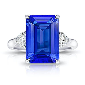 3-Stone Emerald Cut Lab-created Sapphire Engagement Ring in 925 Sterling Silver