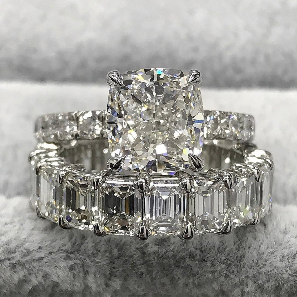 Cnvpk 7.6 Ct Cushion and Emerald Cut 925 Silver Bridal Ring Set
