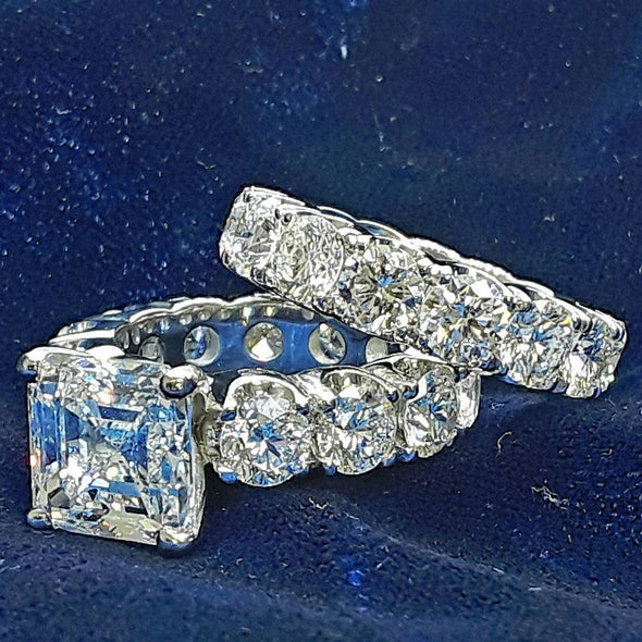 Asscher Cut Lab-created Sapphire Wedding Set in 925 Sterling Silver