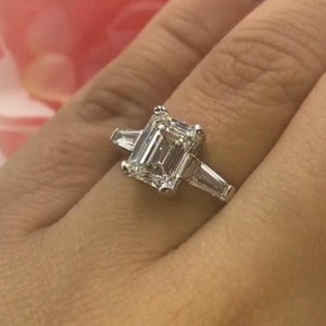 Cnvpk 3.05 Ct Emmerald Cut 925 Silver Engagement Ring