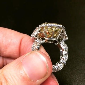 3-Stone Radiant Cut Fancy Yellow Lab-created Sapphire Engagement Ring in 925 Sterling Silver