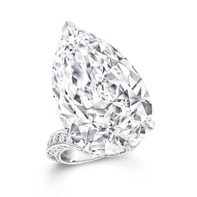 Flawless Pear Cut White Lab-created Sapphire Engagement Ring in 925 Sterling Silver