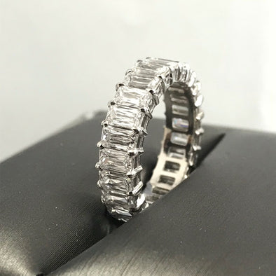 Simple Baguette Cut Lab-created Sapphire Wedding Band in 925 Sterling Silver