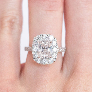 Cnvpk 6.5 Ct Halo Cushion Cut 925 Sliver Glamorous Eternal Sparkle Bridal Set
