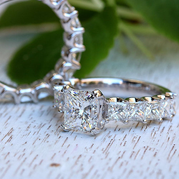 Princess Cut White Lab-created Sapphire Bridal Set in 925 Sterling Silver