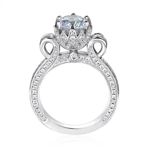 Round Cut Lab-created Sapphire Flower Design Engagement Ring in 925 Sterling Silver