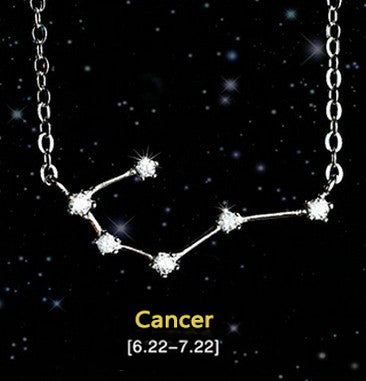 Cancer - Creative 12 Constellation CZ Astrology Horoscope Sign Necklace