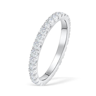 Classic Lab-created Sapphire Eternity Wedding Band in 925 Sterling Silver