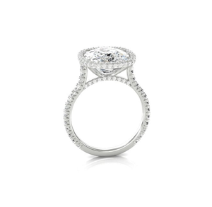 Cushion Cut Lab-created Sapphire Halo Engagement Ring in 925 Sterling Silver