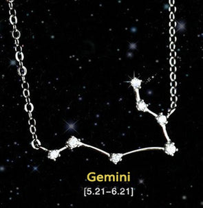 Gemini - Creative 12 Constellation CZ Astrology Horoscope Sign Necklace