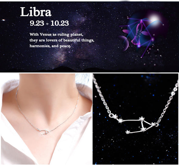 Libra - Creative 12 Constellation CZ Astrology Horoscope Sign Necklace