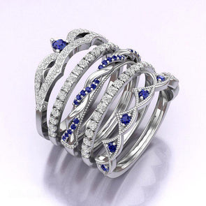 5 Pcs Lab-created Sapphire Fashion Ring in 925 Sterling Silver