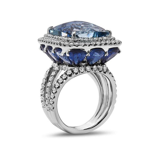 Cushion Cut Aquamarine Lab-created Sapphire Halo Engagement Ring in 925 Sterling Silver
