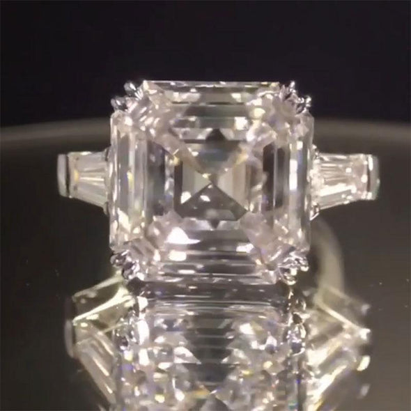 3-Stone Asscher Cut White Lab-created Sapphire Bridal Set in 925 Sterling Silver