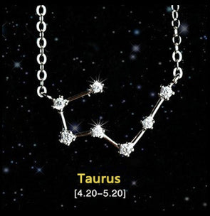 Taurus - Creative 12 Constellation CZ Astrology Horoscope Sign Necklace
