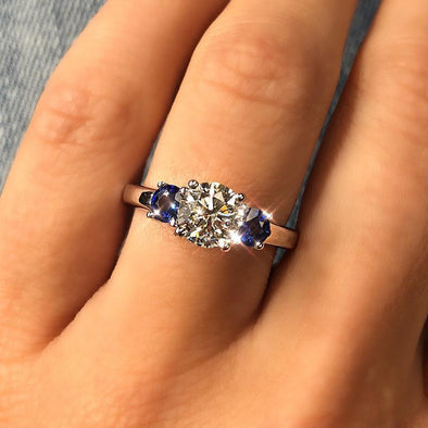 Three Stones Round Cut Lab-created Sapphire Engagement Ring in 925 Sterling Silver
