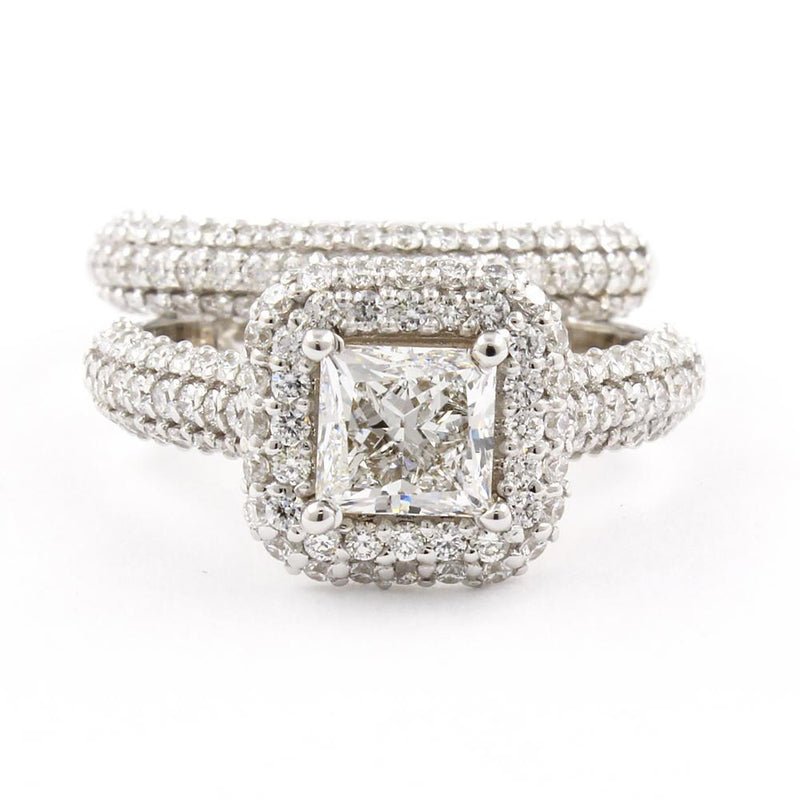 Cnvpk 2.5 Ct Vintage Halo Princess Cut 925 Silver Ring Set