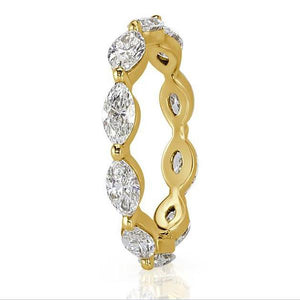 Cnvpk 5.85Ct 3-Tone Marquise Cut 925 Silver Eternity Ring Set