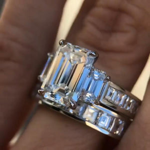 Cnvpk 3.1Ct Emerald Cut 925 Silver Wedding Ring Set