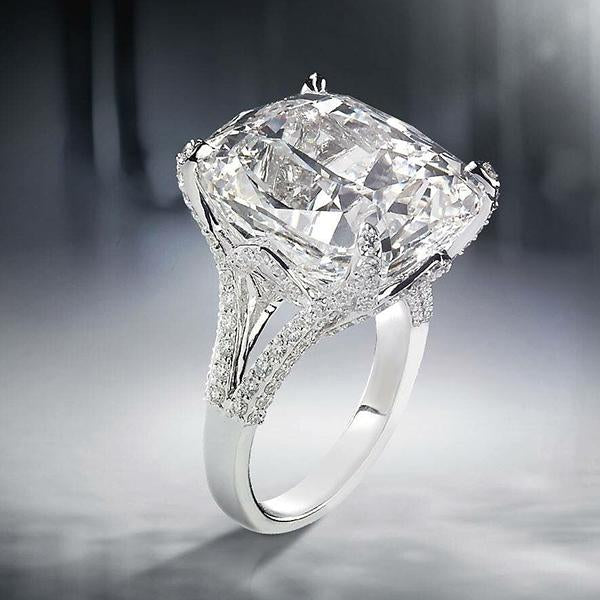 Cnvpk 7Ct Cushion Cut White Sapphire Engagement Ring in 925 Silver