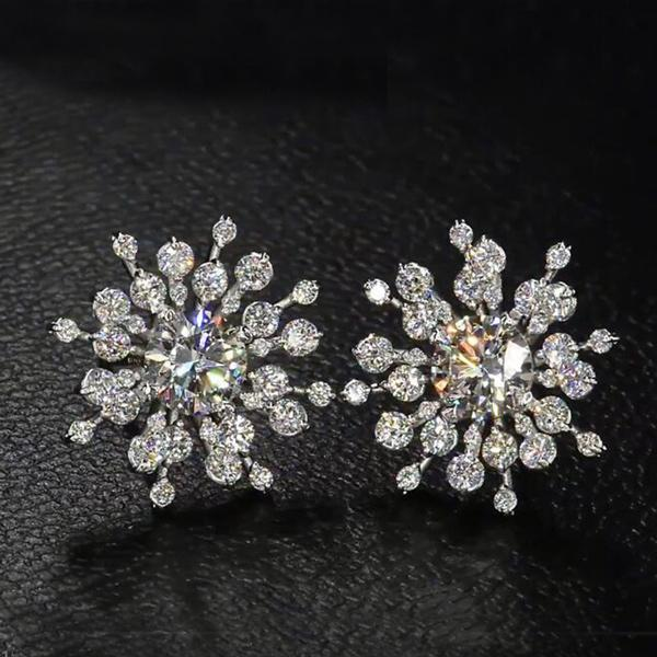 Cnvpk 1Ct Round Cut White Sapphire Snowflake Stud Earrings in 925 Silver