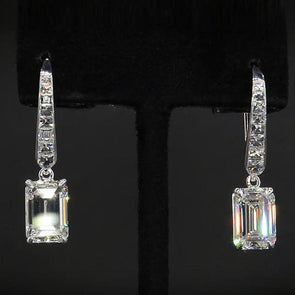 Elegant Emerald Cut Lab-created Sapphire Drop Earrings in 925 Sterling Silver