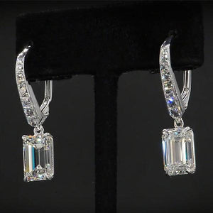 Cnvpk 2Ct Emerald Cut White Sapphire Classic Drop Earrings in 925 Silver