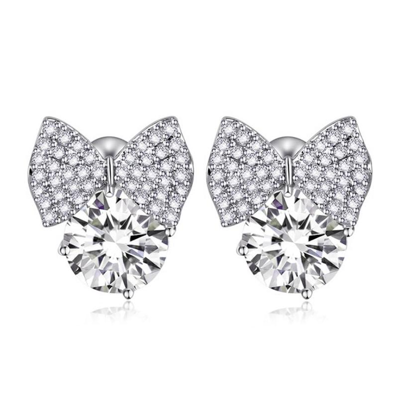 Cnvpk 2.5Ct Round Cut White Sapphire Bowknot Stud Earrings in 925 Silver