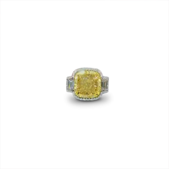 4CT Yellow Sapphire Cushion Cut Sterling Silver Engagement Ring