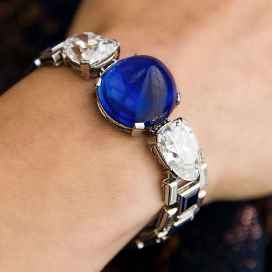 Gorgeous 47 CT Pear Cut Royal Blue Lab-created Sapphire Bracelet