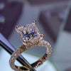 Princess Cut Lab-created Sapphrie Halo Rose Gold Engagement Ring in 925 Sterling Silver