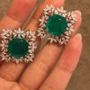 4.65 CT Cushion Cut Green Sapphire Sterling Silver Stud Earring