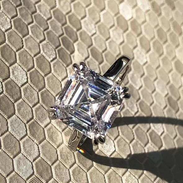 4 Pcs Asscher Cut Lab-created Sapphire Bridal Ring Set in 925 Sterling Silver