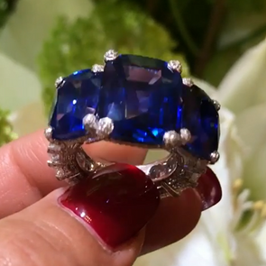 17 CT Three Stone Cushion Cut Blue Sapphire Sterling Silver Ring