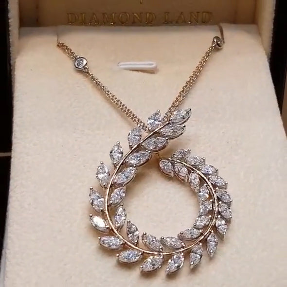 Luxury Marquise Shape Lab-created Diamond Necklace in Sterling Silver