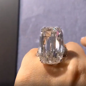 Stunning 50ct Cushion Cut Lab Created Diamond Ring