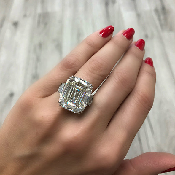 4.5 CT Emerald Cut Lab-created Diamond Engagement Ring in Sterling Silver