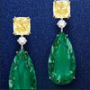 5.5CT Pear Cut  Green Sapphire Sterling Silver Earrings